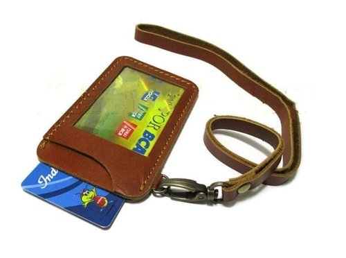 PROMO MURAH! Id card holder kulit/name tag/asli/full kulit/sapi/dompet kartu/murah
