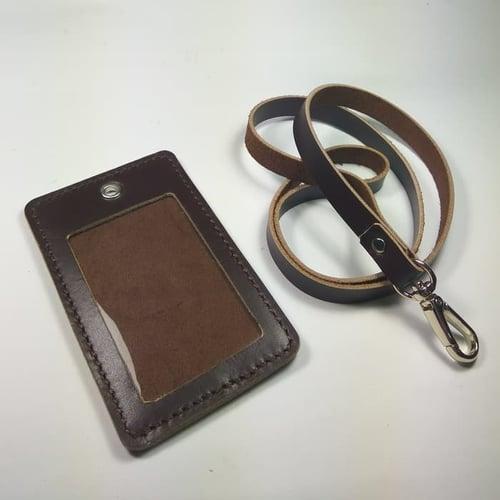 DISKON MURAH gantungan ID card kulit asli warna coklat   id card holder tali id car