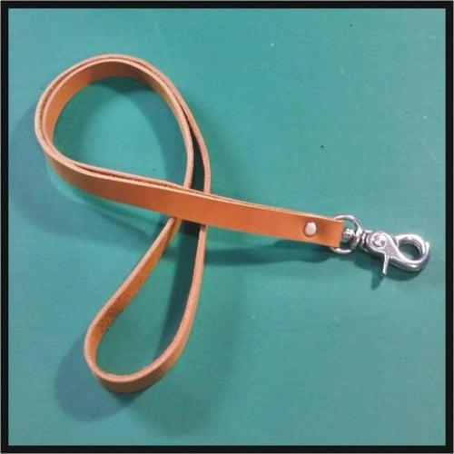 HARGA MURAH tali id card kulit asl warna tan   lanyard name tag   leather goods