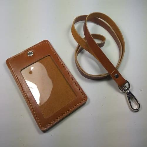 HARGA DISKON ID card holder kulit asli warna tan|gantungan id card | tali id card