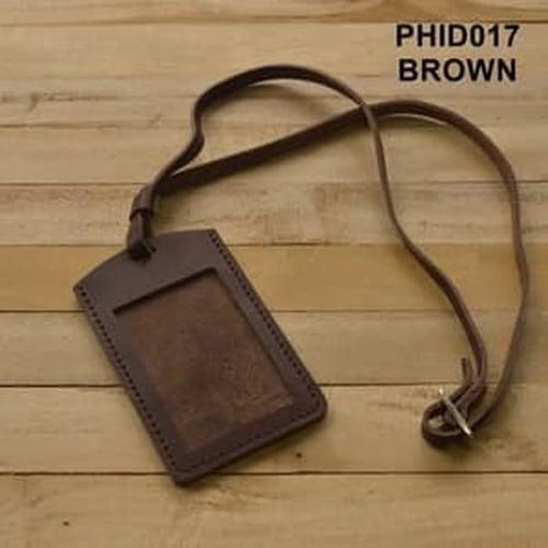 DISKON MURAH gantungan ID card kulit asli warna coklat  id card holder PHID017