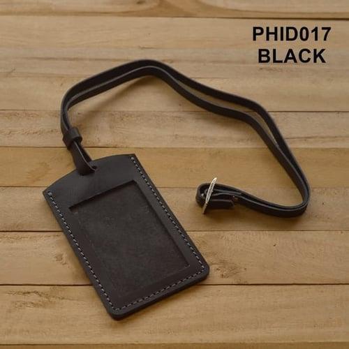TERMURAH gantungan ID card kulit asli warna hitam| id card holder PHID017