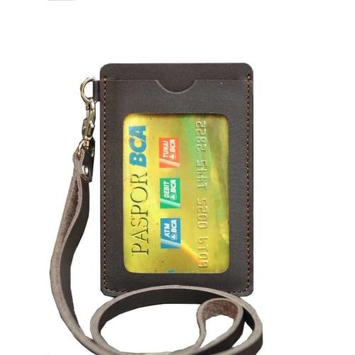 PROMO MURAH id card holder name tag gantungan kalung kulit coklat tua