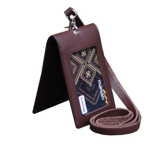 DISKON MURAH Id Card Holder Double Flip Magnet Tali Kulit Coklat