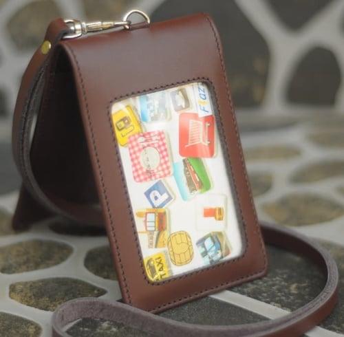 PROMO MURAH Name Tag Id Card Holder Double Magnet Tali Kulit Karyawan Pegawai