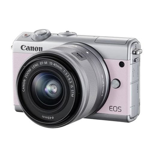 Canon EOS M100 Pink with EF-M15-45mm 2