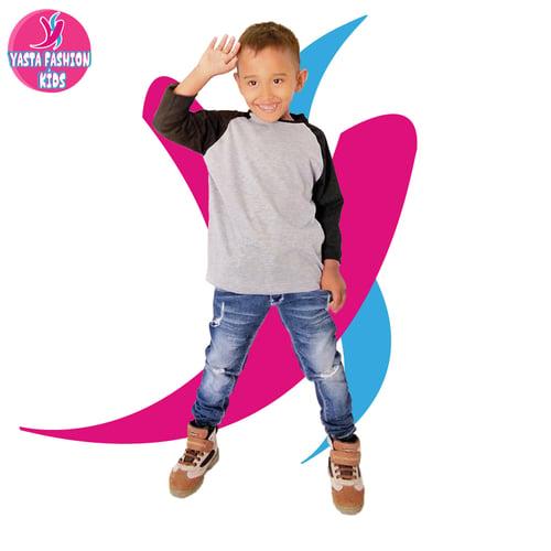 Baju Reglan Anak 7/8  (Abu-Hitam) 1-8 Tahun Yasta Fashion Kids