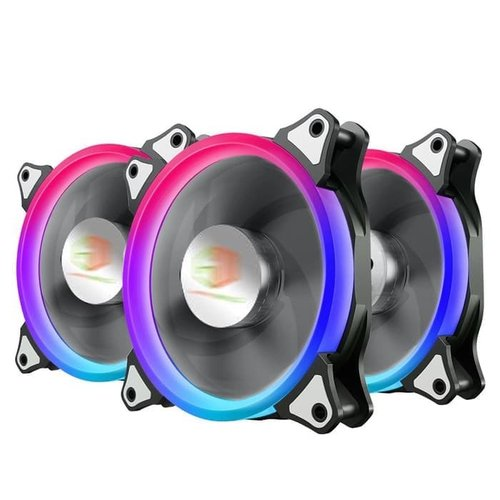 Cube Gaming Aura Flowing RGB Double Ring fan 3pcs + 1 remote