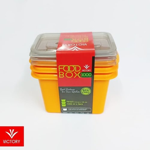 Kotak Penyimpanan Makanan - Kotak Makan Victory Food Box 1000ML (1 SET ISI 3)