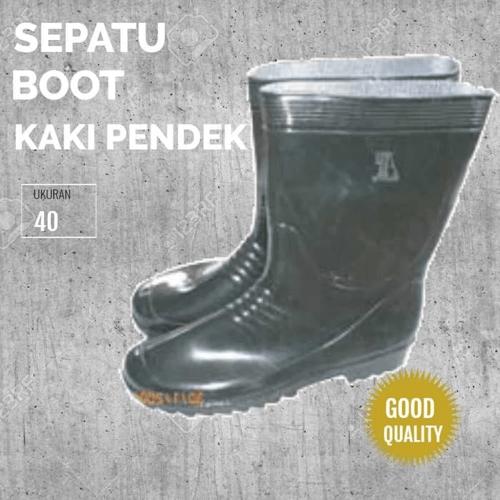 Sepatu Boot Karet Proyek Anti Air Slip Hitam KK Pjg Uk 40