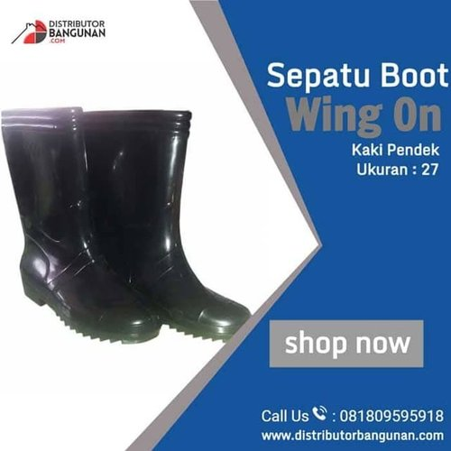 Sepatu Boot Wing On Kaki Sedang Hitam Ukuran 27