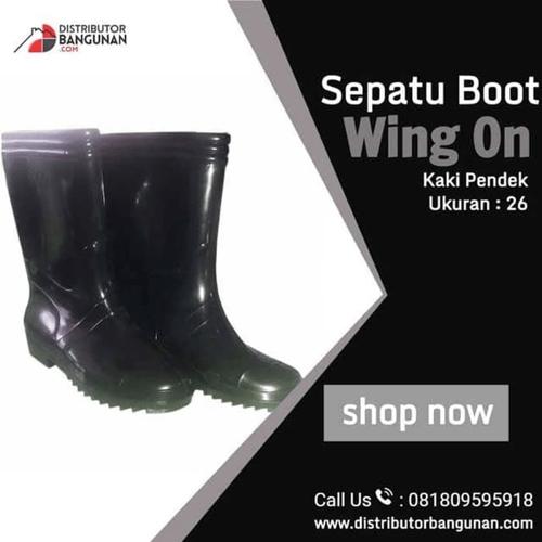 Sepatu Boot Wing On Kaki Sedang Hitam Ukuran 26
