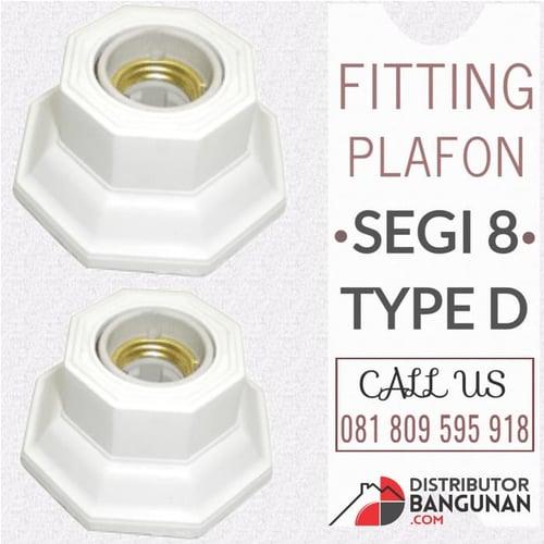 Fitting Plafon Lampu Segi 8 Type D Putih