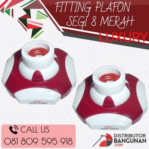 Fitting Plafon Lampu Segi 8 Merah Luxury
