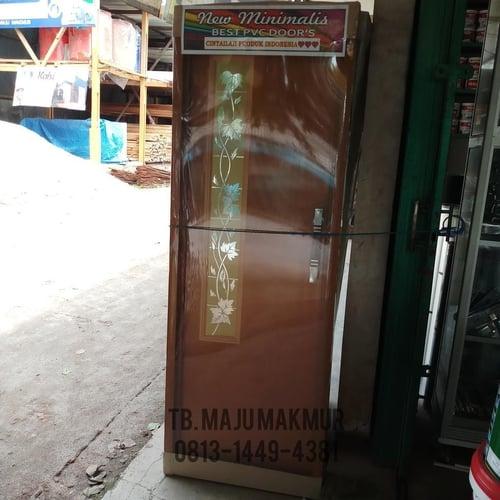 Pintu PVC Cermin Jati Stiker Emas