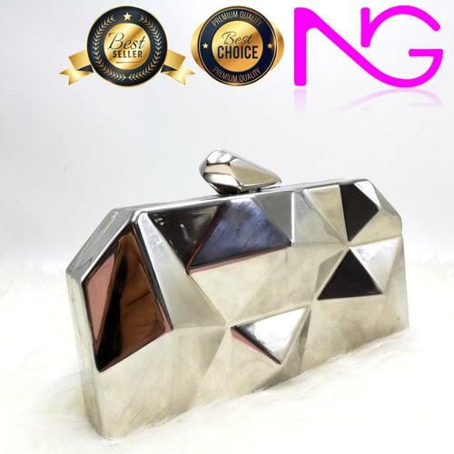 Tas Pesta Import Handbag Clutch Silver G486
