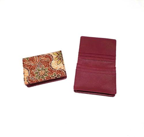Dompet Kartu Batik Bunga Klasik Merah Maroon