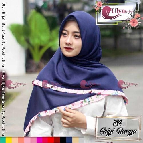 Ulya Hijab Premium Quality Jilbab Hijab S4 Segi Empat Grigi Bunga Mad Katun