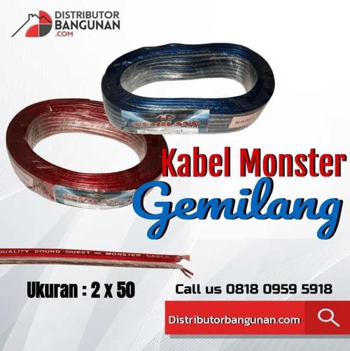 Kabel Cable Listrik Audio Monster Transparan Serabut 2x30 Per Meter