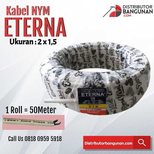 Kabel Listrik NYM ETERNA - 2 x 1,5 -Harga Permeter