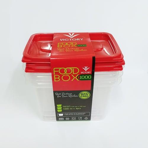 Kotak Penyimpanan Makanan - Kotak Makan Victory Food Box Clear 1000ML (1 SET ISI 3)