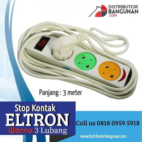 Stop kontak 3 lubang eltron 3meter warna