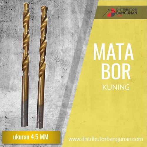 Mata Bor Besi Kayu Beton Drill Kuning Gold 4,5 mm