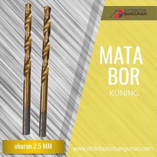 Mata Bor Besi Kayu Beton Drill Kuning Gold 2,5 Mm