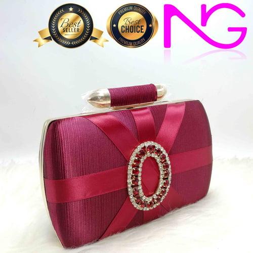 Tas Pesta Import Handbag Clutch Box Maroon JX29751