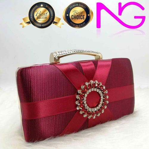 Tas Pesta Import Handbag Clutch Box Maroon JX29801