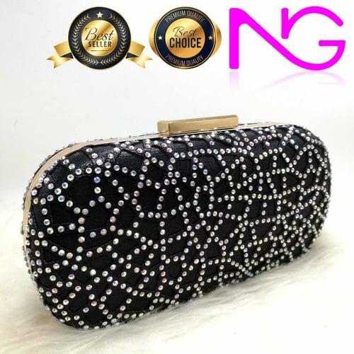 Tas Pesta Import Handbag Clutch Box Swarovski Black 1844