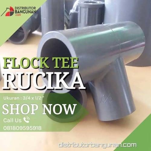 Fitting Pvc Sambungan Pipa Pvc Flock Tee 3/4 x 1/2 Rucika