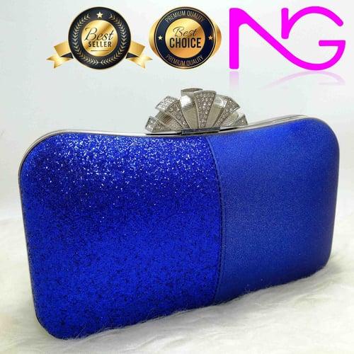 Tas Pesta Import Handbag Clutch Box Glitter Blue 1851