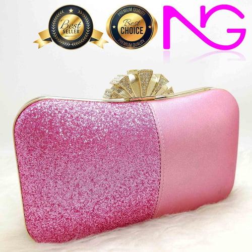 Tas Pesta Import Handbag Clutch Box Glitter Pink 1851