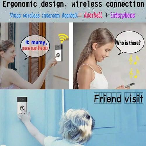 Bel Pintu Wireless dengan Interkom Suara Jarak 300 Meter