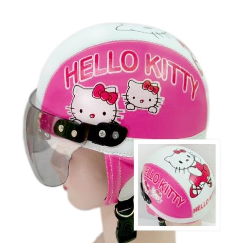 Helm Anak Lucu Motif Helo Kiity usia 1 - 4 Tahun  - Pink Putih