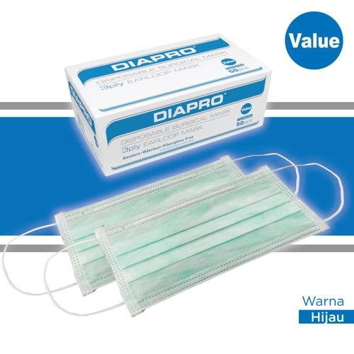 Masker Kesehatan Diapro Value 50S 3Ply Earloop Green