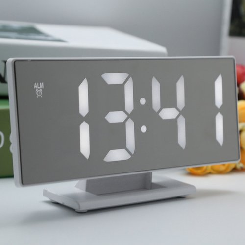 Jam Meja Digital Led Weker Digital Alarm Clock Mirror DS