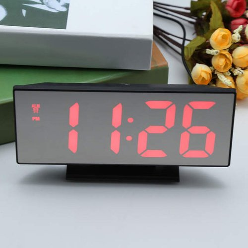 Jam Meja Digital Led Weker / Digital Alarm Clock Mirror red
