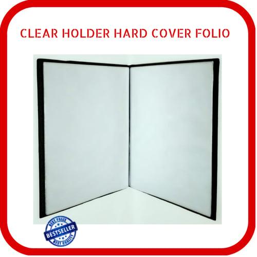 Clear Holder Document Keeper Hard Cover Kulit Imitasi Folio 20 Lembar Hitam Tanpa Risleting