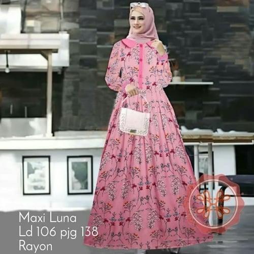 Gamis Luna Jumbo Busui Maxi Dress Syari Muslimah Big Size Model Casual