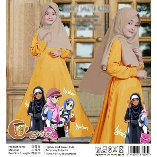 Gamis Jabers Maxi Dress Syari Anak Muslimah Model Casual
