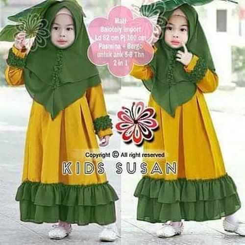 Gamis Susan Maxi Dress Syari Anak Muslimah Model Casual
