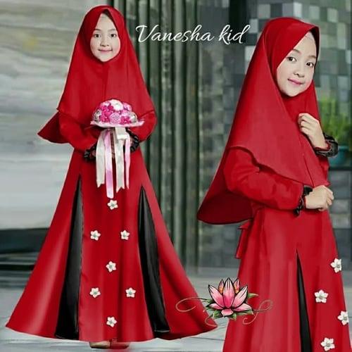 Gamis Vanesha Maxi Dress Syari Anak Muslimah Model Casual