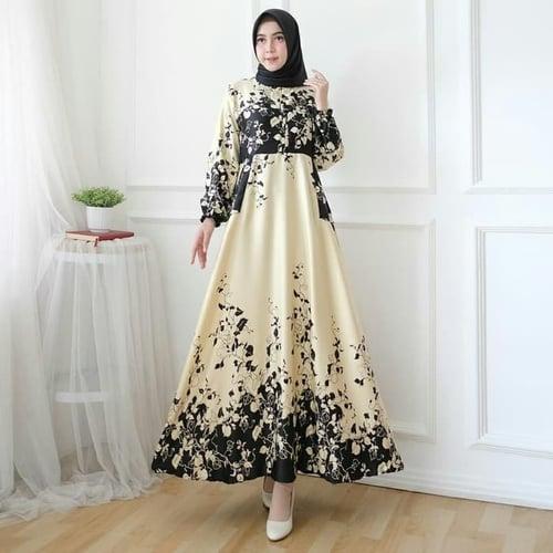 Gamis Razela Jumbo gambar asli Maxi Dress Syari Muslimah Model Casual