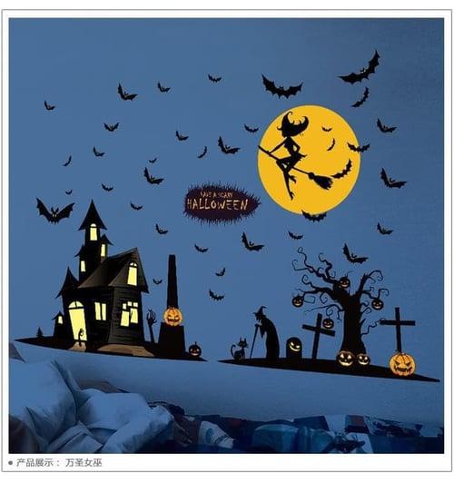 Termurah & Best Seller ! Sticker Dinding Wallsticker Hallowen Bulan Kuning