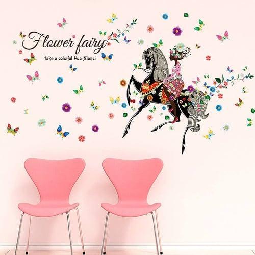 Termurah & Best Seller ! Sticker Dinding Wallsticker Flower Fairy Horse