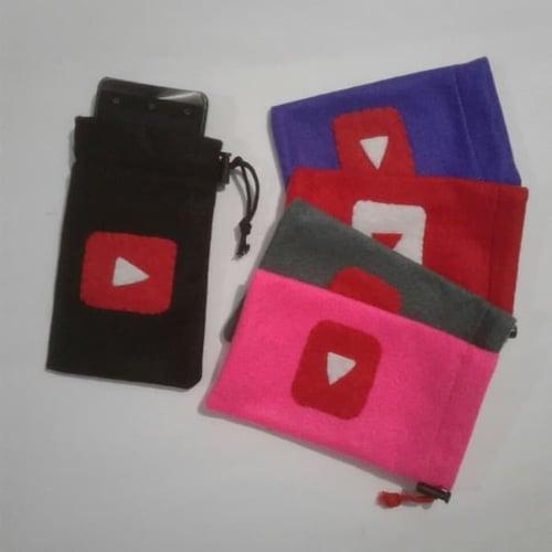 Sarung Cover Casing Tempat Dompet Koin HP Handphone Kacamata Kain Flanel sosmed Youtube