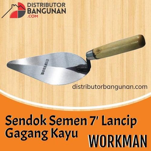 Sendok Semen 7 Lancip Gagang Kayu WORKMAN