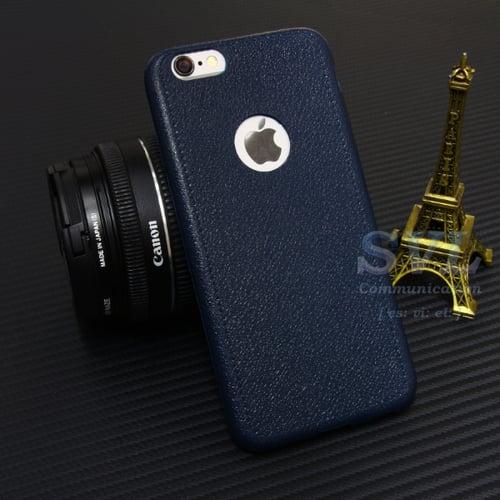Casing Iphone 8 Case Leather Stitching Ultra Thin Slim Kulit BLUE NAVY